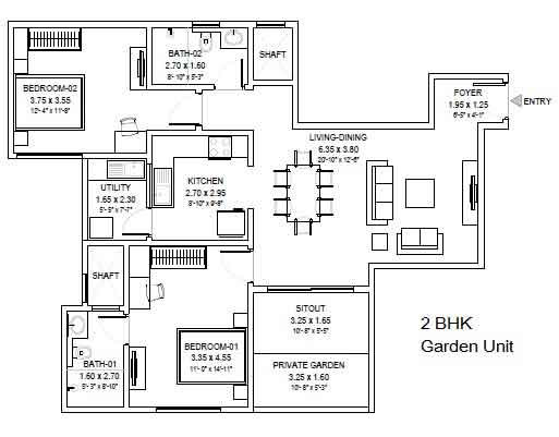 Sobha royal pavilion floor plan 2-bhk