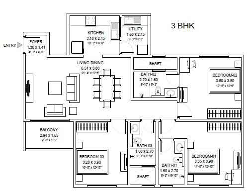sobha royal pavilion floor plan 3-bhk-regular