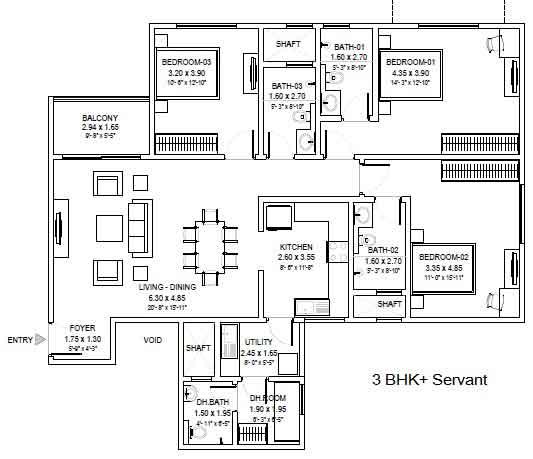 sobha royal pavilion floor plan 3-bhk