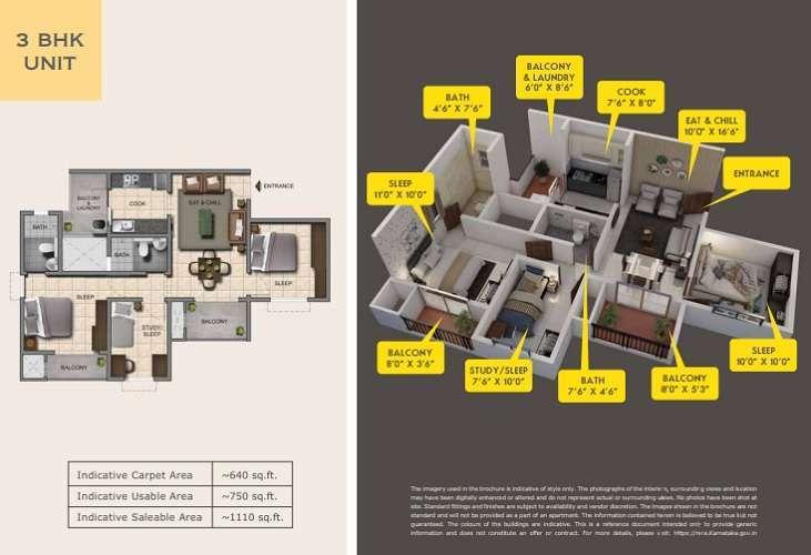 Provident Capella 3 Bhk floor plan