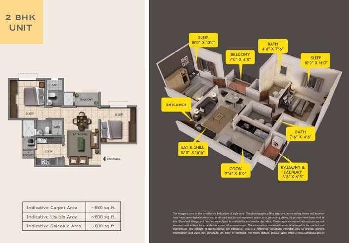 Provident capella 2 bhk floor plan