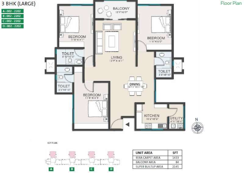 Ozone green view 3bhk large floor plan